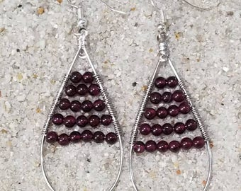 Boho Garnet Earrings | January Birthstone Jewlery