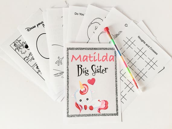 Personalised A6 Activity Pack Book Gift Party Bag For Big Sister Brother