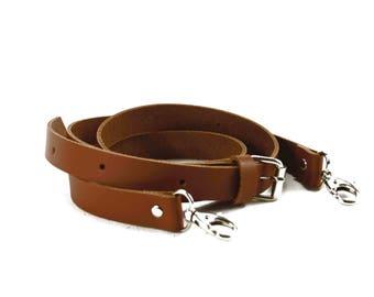 Adjustable shoulder strap leather camel thick width 20 mm