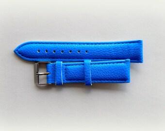 Bracelet 19 cm blue leather ladies watch