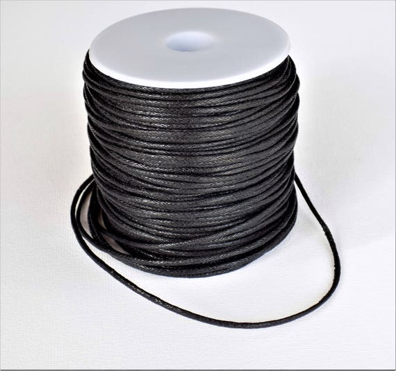 5m of black waxed cotton cord for jewellery and other crafts 0.6mm diameter