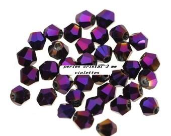 Pearl spinning tops Crystal 3 x 4 mm purple dark - 10