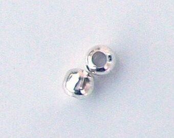 Silver plated 3.2 mm - set of 10 beads