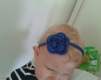 baby girl crochet headband.  Blue or another. all sizes