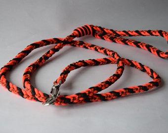 """Wolf"" black and orange braided dog leash"