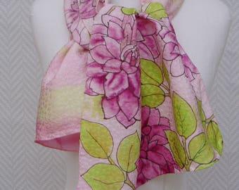 Echarpe, étole,  foulard soie brochée bordeaux, rose vert