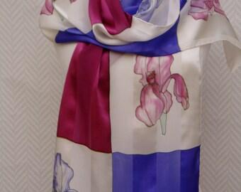 Echarpe étole foulard en mousseline et satin de soie violet bordeaux et  blanc