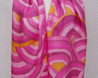 écharpe étole foulard en soie rose blanc orange