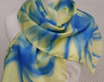 Echarpe étole foulard bleu et jaune