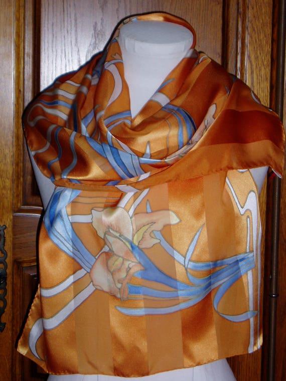 bcc24f102587 Echarpe étole foulard orange bleu blanc en mousseline et satin   Etsy