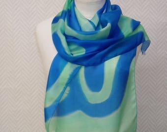 "Scarf shawl scarf blue and green ""school"" skipping silk hand painted"