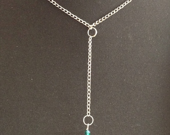 Faceted beaded chain with pendant