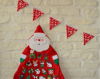 Red snowflake pennant Garland white fabric for Christmas decoration