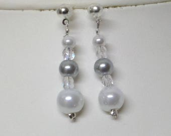 "Wedding earrings white and gray pearls and Bohemian crystal ""JADE"""