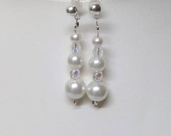 "Wedding ceremony earrings ivory pearls and Bohemian crystal ""JADE"""