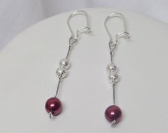 "Wedding earrings, ceremony or party, Burgundy model ""JENNY"""