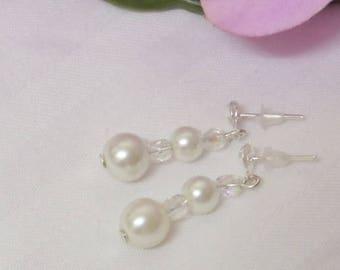 Wedding earrings, swarovski crystal beads and pearls