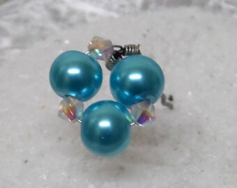 Pins, hair, wedding hair accessory hair bride pearls Pearly turquoise and swarovski crystal