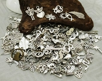 Lot of 10/50 Charms, pendants, charms, connectors for jewelry creation