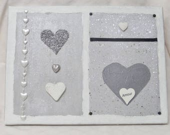 Frame painting on canvas frame silver heart