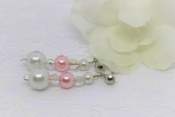 Powder Pink And White Earrings Bridal Jewelry Wedding Accessory Pink And White Beads Boho Crystal Jade