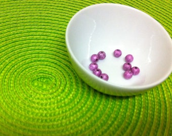10 lilac sparkly beads 6 mm