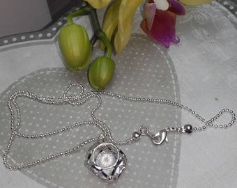 Diamond silver cage necklace
