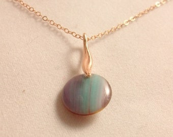 Rose gold plated necklace with multicolor pendant