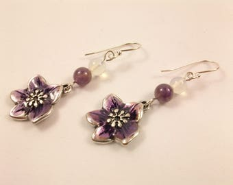Silver earrings 925, handmade, romantic style jewelry, gift idea for woman