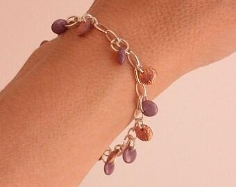 Women 925 sterling silver bracelet, multi beads, Bohemian style