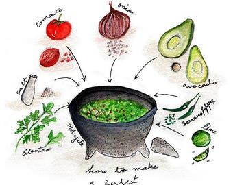 Guacamole recipe watercolor illustration, food art print, cute wall decor, contemporary home decor, chic wall art, mexican food, avocado