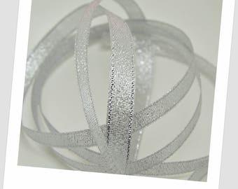 2.5 meters of 10mm - silver - organza Ribbon