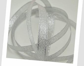 10 meters of 10mm - silver - organza Ribbon