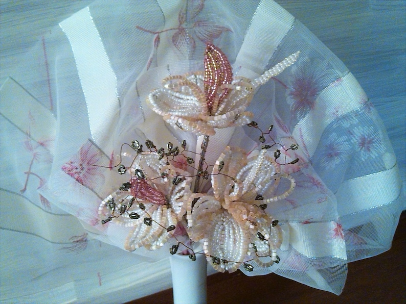vintage floral decoration beaded wedding anniversary gift BEADED BRIDAL BOUQUET Mother/'s day beads gift