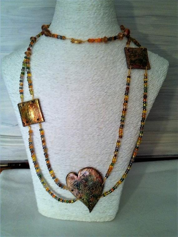 50cm L Multistrand Light Blue//Gold// Antique White// Brown Glass Bead Necklace
