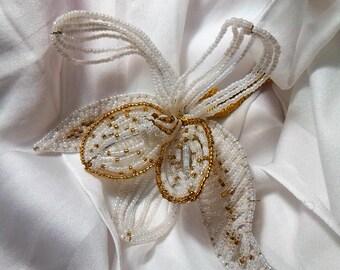 WEDDING flower beads, Fleur de holiday Fleur VINTAGE, gift idea wedding, gift hand made, unique everlasting flower, Pearl gift