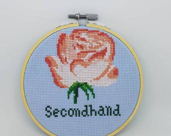 Secondhand Rose- completed cross stitch