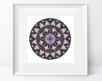 Mandala cross stitch pattern Geometric pdf pattern Black and violet mandala cross stitch chart Modern cross stitch design Geometric wall art