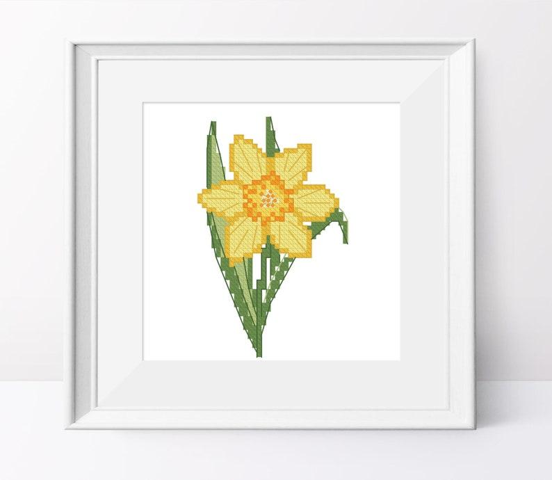 f65cf91eeaed Yellow Narcissus cross stitch pattern Narcissus pdf pattern
