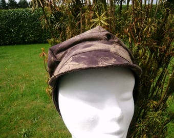 Brown beige velvet ribbed Hat