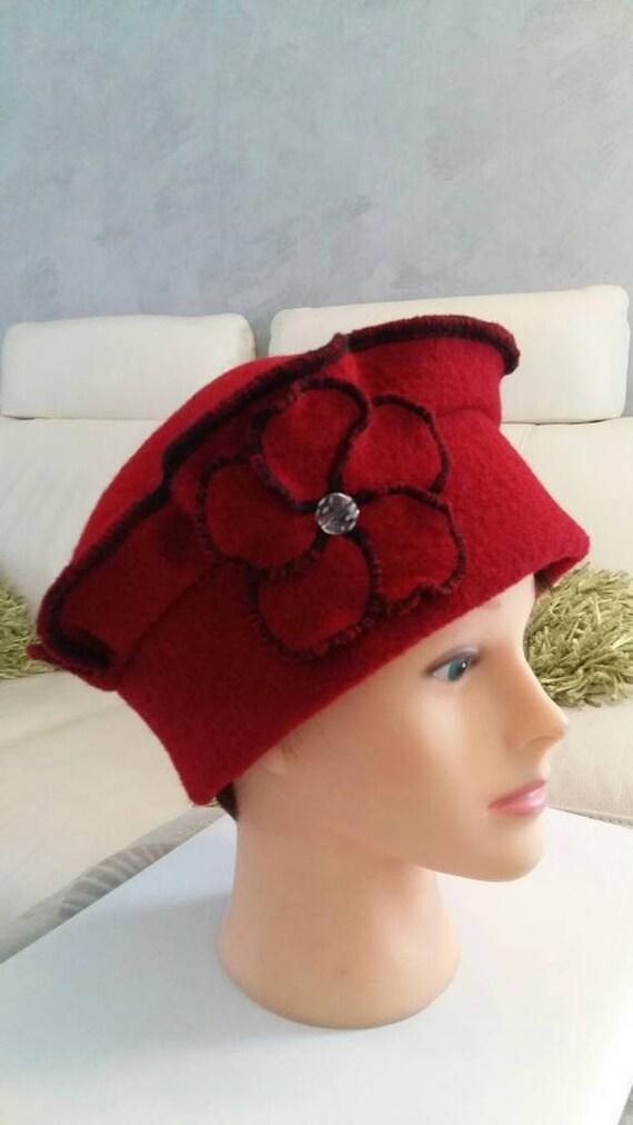 Red boiled wool beret Hat Cap  94b2ece6eaf
