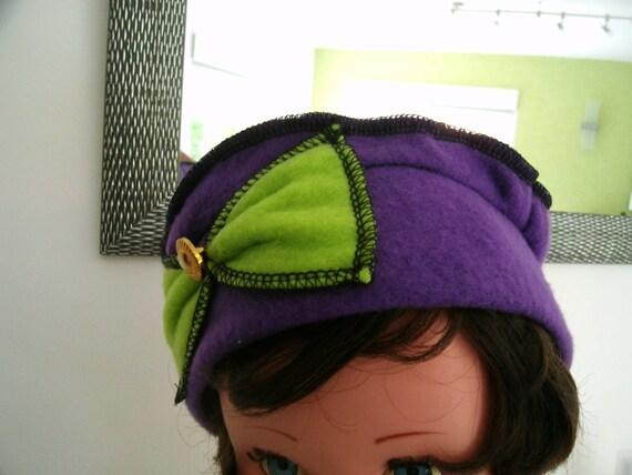 Chapeau béret bonnet enfant violet en polaire et son noeud   Etsy bd3cb19c704