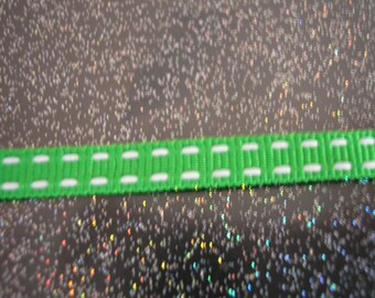 Double Ribbon 6 mm Green polyester bites on 2 sides