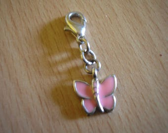 25 mm silver metal and light pink enamel Butterfly charm