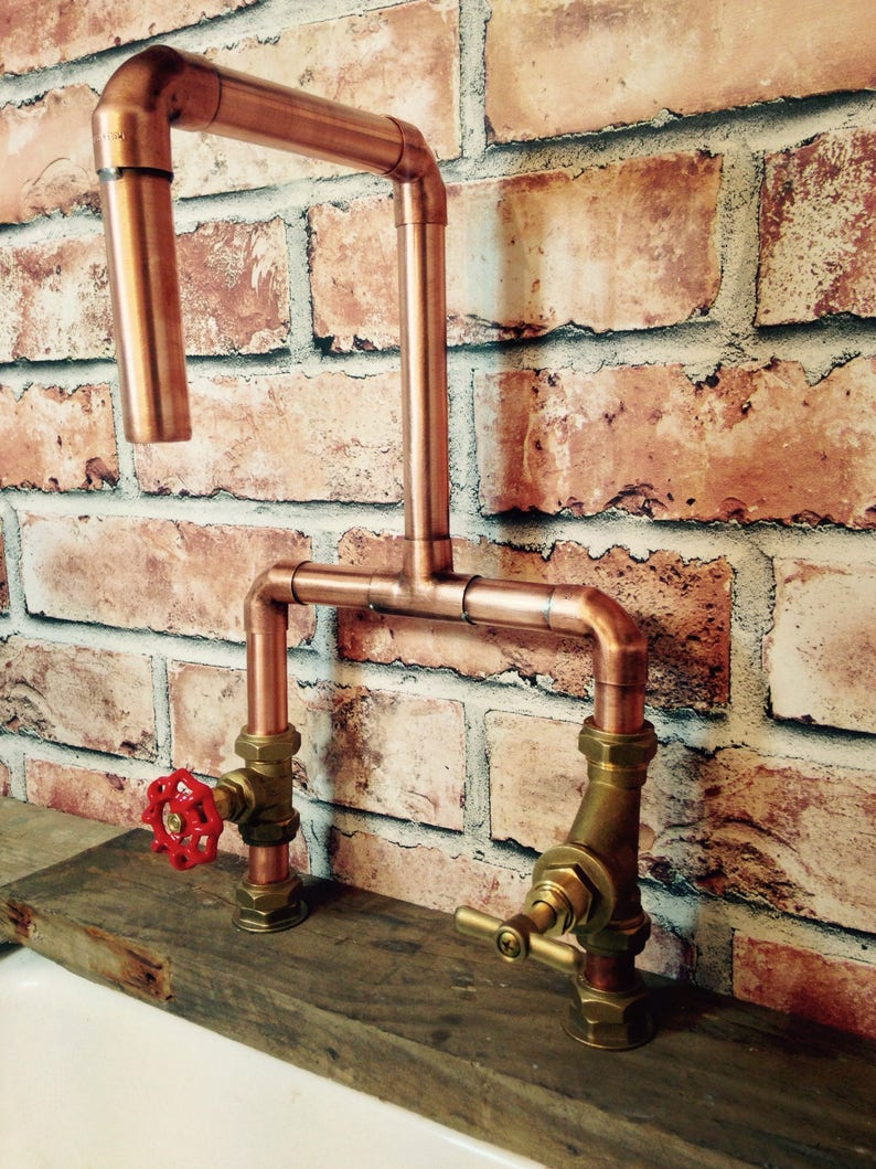 9ea0b258e63d2 Handmade 22mm Copper Tap with Red GateValve & Stop Cock Industrial Style +  Free Shipping
