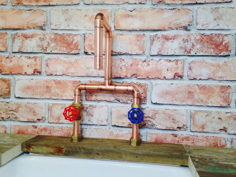49eae64d11e26 Handmade 22mm Copper Tap Red @ Blue Gate Valve Industrial Style + Free  Shipping