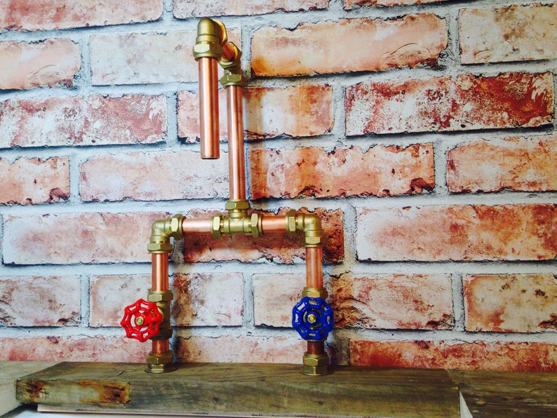 0d3665366cc53 Handmade 22mm Copper Tap with Red & Blue Gate Valves Industrial Style +Free  Shipping
