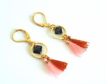 Earrings Bohemian tassel - gold - black - orange & pink - sleeper