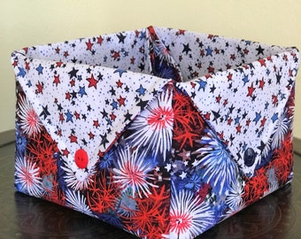 Fireworks and stars quilted fabric basket