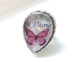Pink butterfly Ring, jewelry I love you, creating resin Adjustable ring, glitter, rhinestone Swarovski, women gift, Aquastella